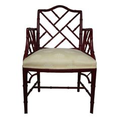 [SOLD] Red Faux Bamboo Chippendale Armchair on Chairish.com
