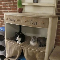Cat Condo from Destroyed Dresser! Re-purrrr-posed feline heaven! #diy #cathouse