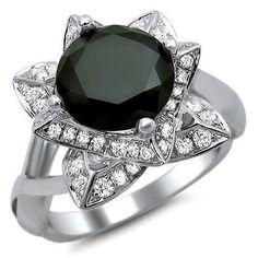 2.50ct Black Round Diamond Lotus Flower Engagement Ring 14k White Gold - List price: $4,095.00 Price: $1,795.00