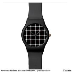 Shop Awesome Modern Black and White Optical Illusion Wristwatch created by PatternStore. Optical Illusions, Watches, Black And White, Awesome, Modern, Pattern, Gifts, Color, Design