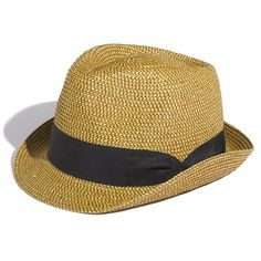 David & Young Straw Fedora (Juniors) Natural One Size ($18) found on Polyvore