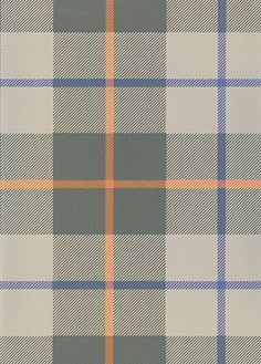 Ranold Wallpaper Tartan wallpaper in khaki and light greige with a line of purple and orange