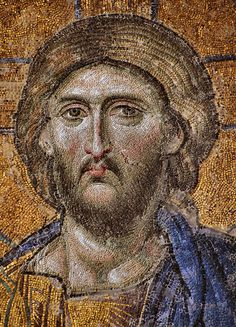 Mosaic of Christ Pantocrator from Hagia Sophia from the Deesis mosaic