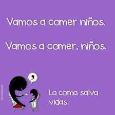 Spanish joke about comma use. Chiste - la coma salva vidas. #learning #spanish #kids