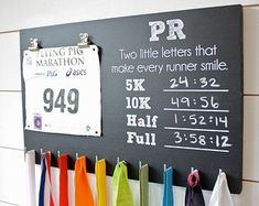 his and hers running medal rack   PR Chalkboard Race Bib and Medal Holder - 5K, 10K, Half, & Full