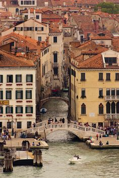 A Venetian canal opens out on to St Mark's Basin, as seen from the top of the bell tower of San Giorgio Maggiore.