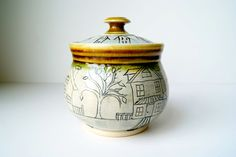 READY TO SHIP....Lidded Jar Storage Container by RiverStonePottery