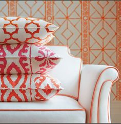 Graphic, colorful pillows ... and a sofa too!  Dana Gibson