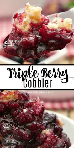 Nov 2019 - Triple Berry Cobbler is loaded with delicious summer berries, fresh blackberries, blueberries and raspberries, and has a cake like topping that is both crunchy and delicious. Köstliche Desserts, Delicious Desserts, Dessert Recipes, Yummy Food, Raspberry Desserts, Cake Recipes, Triple Berry Cobbler, Best Berry Cobbler Recipe, Mixed Berry Cobbler