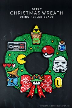 DIY Perler Beads Geeky Christmas Wreath #perler_beads
