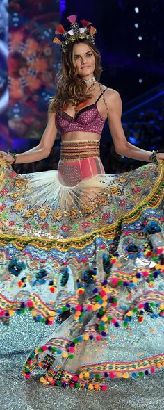 Runway Secret: Barbara Fialho's skirt took 3 weeks to design and 4 weeks to embroider. | Own The Look: Victoria's Secret Fashion Show