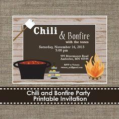 Chili bar or Smore Party Invitation. https://www.etsy.com/listing/162406964/chili-and-bonfire-party-invitation-diy