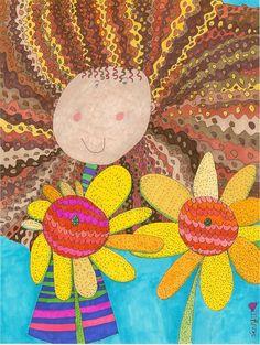 """Daisy with Sunflowers  11x14"""" Giclee Print. $30.00, via Etsy.    JennyLu Designs www.etsy.com/... and www.jennyludesign..."""