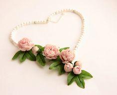 Necklace, Flower necklace, peony from polymer clay,  Jewelry,  wedding set, wedding jewelry, for prom