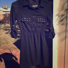 Indulge Sheer Black Studded Shirt Dress I am SO heartbroken to let this one go but it's too small for me now! This dress is sheer but has a slip attached, a slight high-low hem and beautiful gold buttons and studs! Indulge Dresses Midi