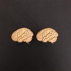 Brain Cufflinks in Maple - Wood Laser Cut Cuff Links - smart geeky science nerdy creepy Halloween anatomy teacher gift wooden male jewelry