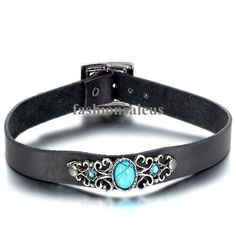 Punk Biker Gothic Black Leather Choker Faux Turquoise Buckle Collar Necklace New #Unbranded #Choker