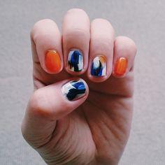 -セルフネイル #selfnail #nail #art #nailart #summer #orenge #blue #navy #white