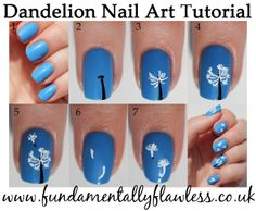 Dandelion nail art tutorial - www.fundamentallyflawless.co.uk