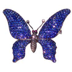 1stdibs   Sapphire Diamond Tremblant Butterfly Gold Pin Brooch