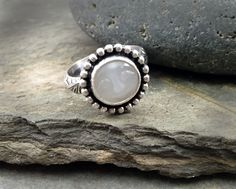 Man in the Moonstone vintage style ring. Handmade sterling silver ring by NimbleWitchCreative on Etsy