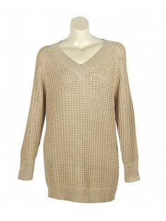 Plus Size Gold Metallic V-Neck Sweater
