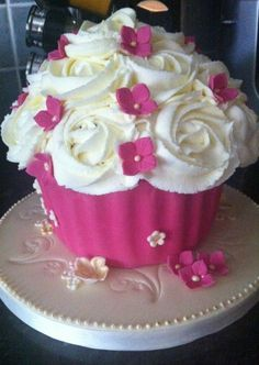 pink and white birthday cake - Google Search