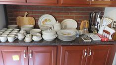Baroque dinnerware set. Includes: 7 diner plates, 14 salad plates, 9 soup bowls, 6 berry bowls 12 cups & saucers, coffee pot, gravy boat, soup tureen, creamer/sugar bowl, butter dish with top, large, platter small platter, vegetable bowl all in good shape, pots and pans, canister set (missing the large top), misc. gadget items, knife set, stainless utensils, plus much more. Please bring boxes. There are none available at this auction. Absolute Auction & Realty Soup Bowls, Vegetable Bowl, Canister Sets, Salad Plates, Butter Dish, Sugar Bowl, Cup And Saucer, Utensils, Dinnerware