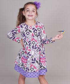 Take a look at this Pink & Purple Owls Karen Dress - Girls by Jelly the Pug on @zulily today!
