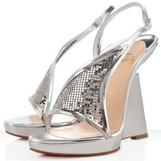 Christian Louboutin Roxy Muse 120mm Leather Wedges Argento