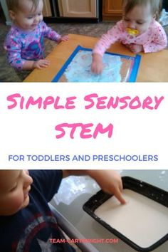 Toddlers and preschoolers love science projects! and they can be easy and relatively mess free. here are 5 simple sensory stem activities for toddlers and Steam Activities, Sensory Activities, Infant Activities, Learning Activities, Activities For Kids, Sensory Bins, Sensory Play, Science For Toddlers, Preschool Science