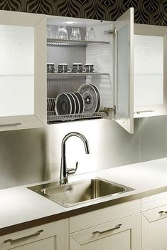51 Trendy Kitchen Storage Ideas For Pots And Pans Sinks Kitchen Shelf Design, Kitchen Cabinets Decor, Kitchen Shelves, Kitchen Interior, New Kitchen, Kitchen Storage, Kitchen Drying Rack, Drying Racks, Gray Cabinets