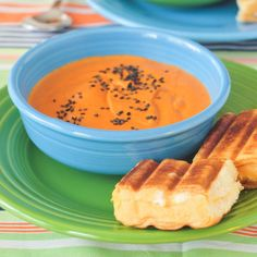 Today in Totally Perfect Vegan Meals: creamy Tomato Bisque with Grilled Cheese Sliders.