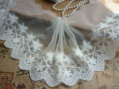 5-1/8' Wide Cotton Embroidery Lace trim Clothing Supply White by 1 yard -- See this great item.