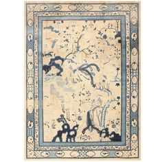 Tranquil Antique Chinese Rug | From a unique collection of antique and modern chinese and east asian rugs at https://www.1stdibs.com/furniture/rugs-carpets/chinese-rugs/