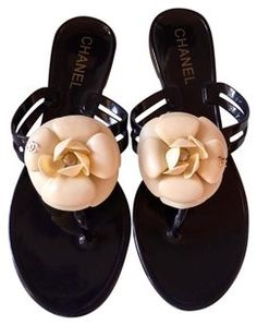e1b5d57f7 Chanel Black Grosgrain Imitation Pearl Sandals Size EU 36 (Approx. US 6)  Regular (M