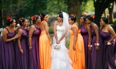 Kallie, Jazmyn, Aaliyah in orange... The rest in purple! Love this idea