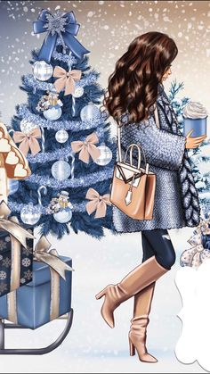 Beautiful Girl Drawing, Beautiful Drawings, Christmas Paintings, Christmas Art, Illustration Mode, Illustrations, Fashion Art, Girl Fashion, Girly M