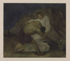 William Strang, 'Jacob Wrestling with the Angel' 1894 or 1904