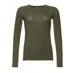 Long-sleeved T-shirt, in jersey modal stretch, solid colour.