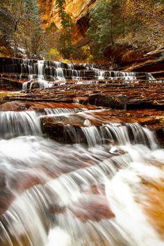 1) Archangel Falls, Zion National Park. Utah waterfalls