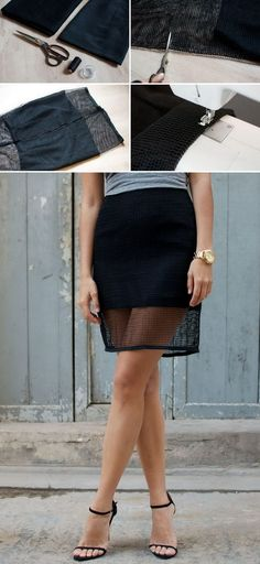 DIY Mesh Pencil Skirt. See the full tutorials