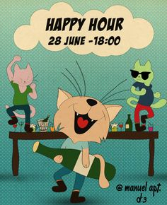 Some kind of happy hour! #cat #cats #happyhour #drinks #alcohol #dance #happy #music #drawing #fun #drunk #drinking