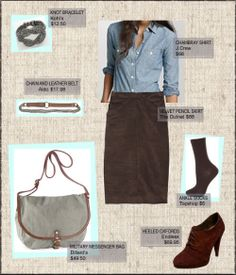 Professional outfits for women (chambray, oxford heels, black pencil skirt)