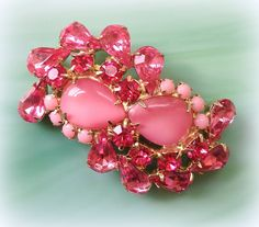 Vintage 2-Tone Pink Teardrop Moonglow Cabochon, Milk Glass, & Rhinestone Abstract Gold-Tone Brooch