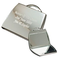 Personalised Silver Handbag Compact Mirror  Valentines Day Gift Ideas