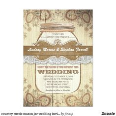 country rustic mason jar wedding invitations