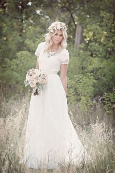 I like the dress with sleeves and the hair halo Airy Lace - Modest Wedding Gown Wedding Dresses Lds, Wedding Gowns With Sleeves, Wedding Dress Trends, Simple Short Sleeve Wedding Dress, Reception Dresses, Bride Dresses, Dream Wedding, Wedding Day, Trendy Wedding