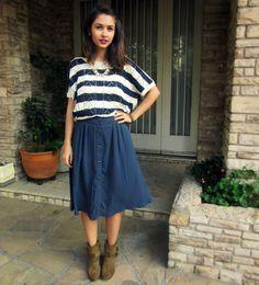 Outifit whith buttoned misi skirt and knit blouse. zara boots - Blusa de tricô forever21 saia reformada e botas Zara