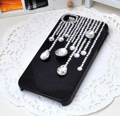 Handmade Bling Rhinestone Crystal iPhone4 4S 5 5S 5c Case Cover Raining Design #rhinestone #sparkly #phonecase #black New Iphone, Iphone Cases, Mobile Craft, 5c Case, Crystal Rhinestone, Bling, Pearls, Crystals, Cover